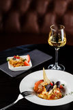 Seafood with wine. On the table Royalty Free Stock Images