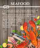 Seafood on wooden background Stock Photo