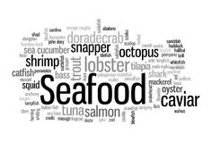 Seafood Word Cloud Stock Photo