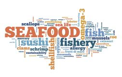 Seafood word cloud. Seafood cuisine - fish and shellfish based diet. Word cloud sign Stock Image