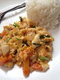 Seafood yellow curry powder stir Fried Royalty Free Stock Image
