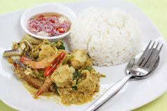 Seafood yellow curry powder stir Fried with steam rice Stock Images