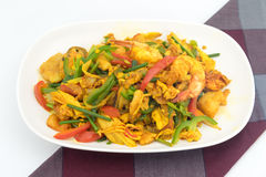 Seafood with Yellow curry sauce Stock Images
