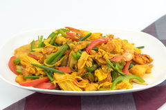 Seafood with Yellow curry sauce Royalty Free Stock Photos
