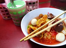 Seafood yong tau foo rice noodles with fishball Stock Photo