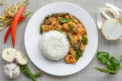 Seafoods cooked with thai spicy paste. And thai harb Royalty Free Stock Image