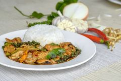 Seafoods cooked with thai spicy paste. And thai harb Stock Photos