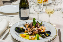 Seafoods and mussels. On plate at the restaurant Stock Photography