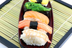 Seafoods Sushi in the dish. Stock Images