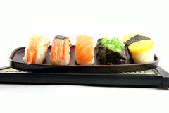 The seafoods Sushi on the dish. Royalty Free Stock Photography