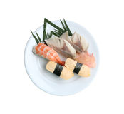 Seafoods Sushi in dish on white background. Seafoods Sushi in dish on white background and have clipping paths Royalty Free Stock Images
