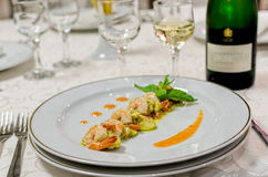 Seafoods and white wine. Glass Stock Images