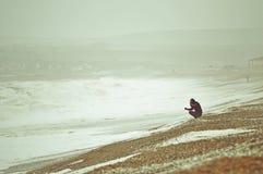 Seaford的风大浪急的海面 库存图片
