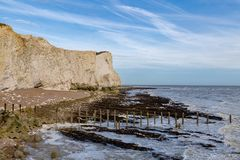 Seaford, East Sussex, UK. Pebble beach, cliff and coast, Seaford, East Sussex, England, UK Royalty Free Stock Photo