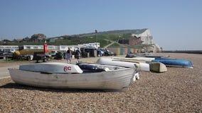 Seaford Sussex do leste com o barco e penhascos e visitantes de giz brancos que andam na luz do sol no passeio da frente marítima vídeos de arquivo