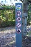 No digging, no littering, no dumping, no alcohol sign. Seaford, VIC / Australia - Oct 5 2018: No digging, no littering, no dumping, no alcohol sign at Seaford stock image