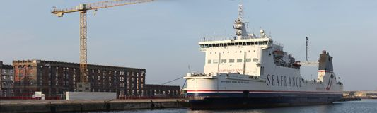 Seafrance boat at the quay in Dunkerque Royalty Free Stock Image