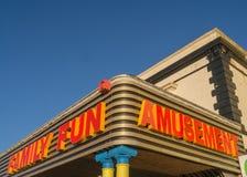 Seafront amusements. Seafront arcade facade advertising family fun and amusements Stock Photo
