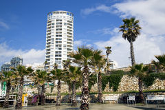 Seafront and architecture modern buildings in Bat-Yam Royalty Free Stock Images