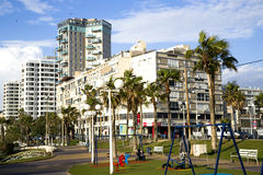Seafront and architecture modern buildings in Bat-Yam Royalty Free Stock Image