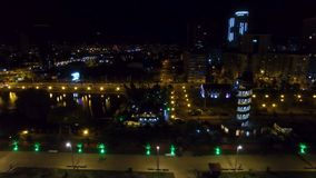 Seafront area of Batumi Georgia night, Black Sea resort cityscape, destination. Stock footage stock footage