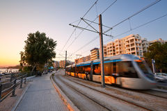 Seafront in Athens. Tram on the seafront of Athens in Faliro, Greece Stock Photography