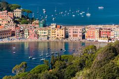The seafront and the beach of Sestri Levante, seen from distant surrounding hills Stock Photo