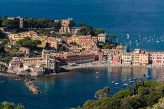The seafront and the beach of Sestri Levante, seen from distant surrounding hills Stock Image