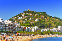 Seafront, beach, Suburb of Barcelona. Royalty Free Stock Images