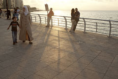 Seafront, Beirut. People walking along the seafront of Beirut Royalty Free Stock Photography