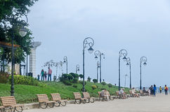 The Seafront of Black Sea with benches and light poles, Bucharest, Romania Stock Images