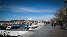 Seafront and boats in Canakkale Royalty Free Stock Images