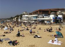 Seafront Bournemouth Packed in Summer. Seafront Bournemouth Dorset near the Oceanarium Stock Images