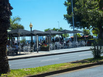 Seafront cafes the centre of Funchal on the Island of Madiera Royalty Free Stock Images