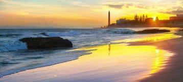 Maspalomas lighthouse at sunset. Gran Canaria, Spain royalty free stock photography