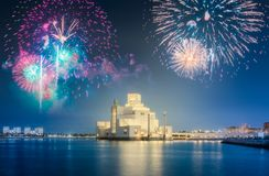 Seafront of Doha park and East Mound-Skyline view. During the night with fireworks, Qatar stock images