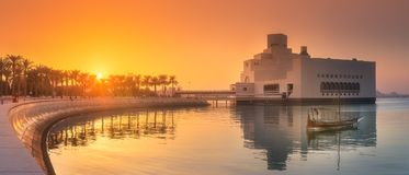 Seafront of Doha park and Museum of Islamic Art. During sunset, Qatar Royalty Free Stock Photography