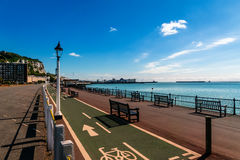 Seafront of Dover with cycle and pedestrian path at the shore Royalty Free Stock Image