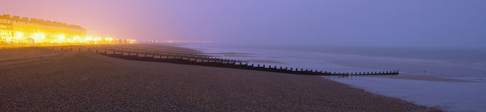 Seafront in Eastbourne by night Royalty Free Stock Photo