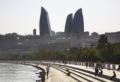 Seafront and Flame towers in Baku. Azerbaijan Royalty Free Stock Photography