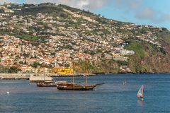 Seafront of Funchal in Madeira island, Portugal Royalty Free Stock Photos