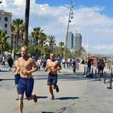 Seafront of La Barceloneta in Barcelona, Spain Stock Photo