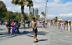 Seafront of La Barceloneta in Barcelona, Spain Stock Images
