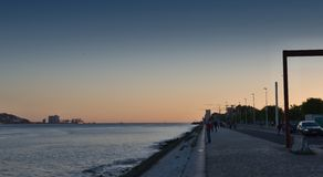 Seafront in Lisbon -  evening Royalty Free Stock Photography