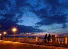 Seafront at night Royalty Free Stock Image