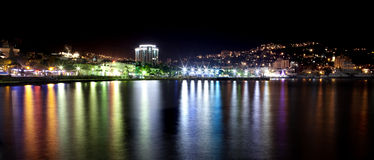 Seafront. Night view of the city in Crimea Stock Image
