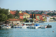 Seafront of Njivice with hotel Jadran Royalty Free Stock Photography
