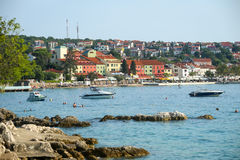 Seafront of Njivice with hotel Jadran Stock Image