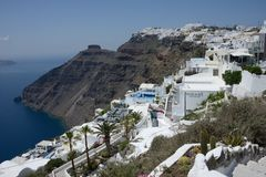panoramic view of the Fira town in Santorini island with hotel and residence surrounded by nature royalty free stock photos