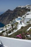 panoramic view of the Fira town in Santorini island with hotel and residence surrounded by nature stock photography